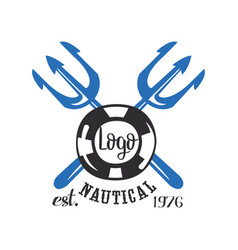 Nautical logo est 1976 retro emblem with marine vector