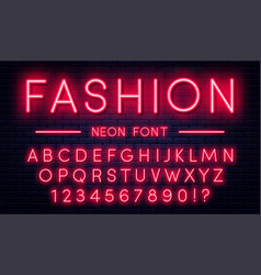 Neon alphabet with numbers red style font vector
