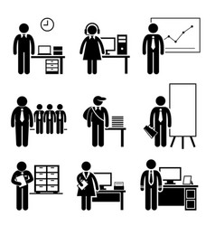 office jobs occupations careers - staff employee vector image