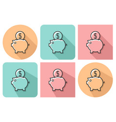 outlined icon of piggy bank with parallel and not vector image