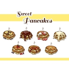 Pancakes Stacks Set vector image