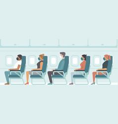 Passengers wearing protective medical masks vector