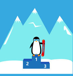 penguin snowboarder winner champion vector image