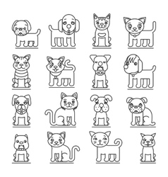 Pets line icons Dogs and cats outline signs vector image