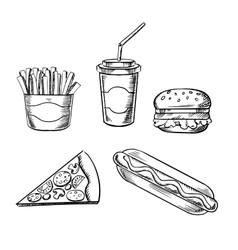 Pizza burger french fries hot dog and soda vector image