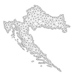 Polygonal network mesh map of croatia vector
