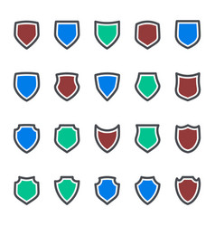 Protection icons shield collection silhouette vector