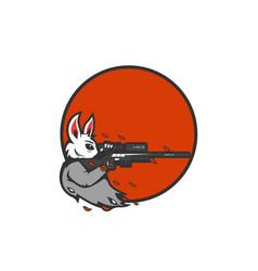 Rabbit marksman sniper aiming logo icon for vector