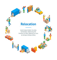 Relocation service 3d banner card circle isometric vector