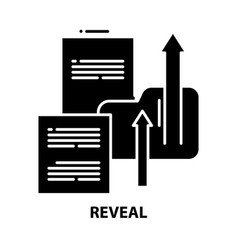 Reveal icon black sign with editable vector