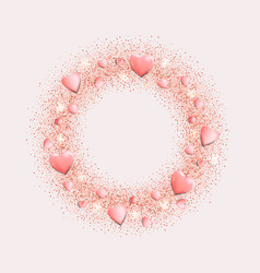 Romantic pink hearts and glitter round frame vector