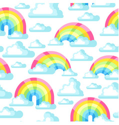 seamless pattern with fantasy rainbow and clouds vector image