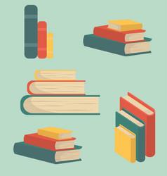 Set book stacks in flat design vector