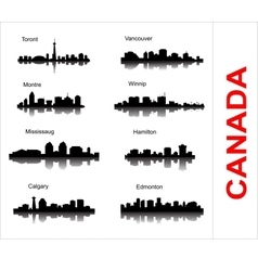 Set City silhouette in Canada vector