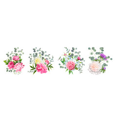 Set lovely bouquets vector
