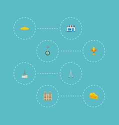 Set of europe icons flat style symbols with fleur vector