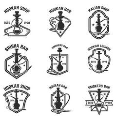 Set of hookah bar emblems for logolabel sign badge vector
