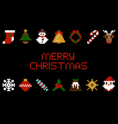 set of pixel art christmas icons vector image