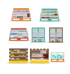 Set of store shelf Supermarket shop vector