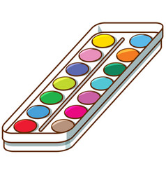 Set watercolors on tray vector