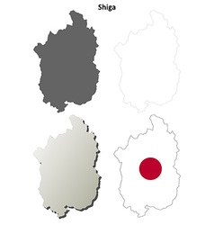 Shiga blank outline map set vector