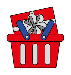shopping online basket and gift box vector image