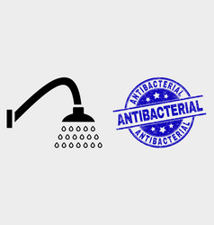 Shower icon and grunge antibacterial stamp vector