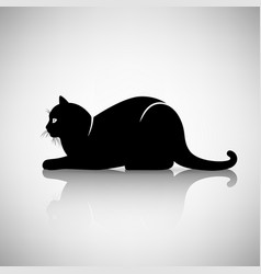 Silhouette of a cat lying vector