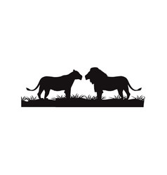 Silhouette pair lion couple beast animal vector