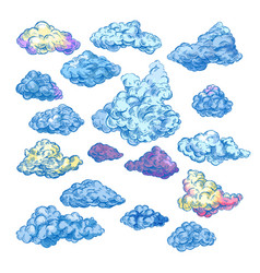 sketch clouds fluffy and stormy blue clouds vector image