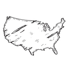 sketch of a map of the united states vector image