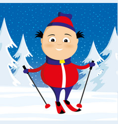 skier in the winter forest vector image