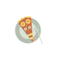 slice sweet cake or pie lies on plate with fork vector image