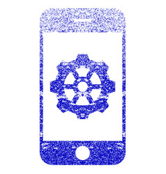 Smartphone options gear textured icon vector