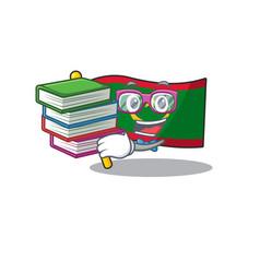 Student with book flag mauritania mascot cartoon vector