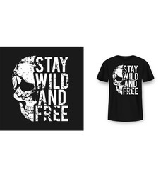 t-shirt design with skull and slogan vintage vector image