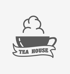 tea house logo label or sign design concept with vector image