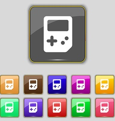 Tetris icon sign Set with eleven colored buttons vector image