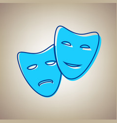 theater icon with happy and sad masks sky vector image