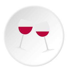 Two glasses of red wine icon circle vector