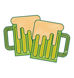 two green beer glass foam beverage vector image