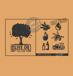 vintage olive tree emblem with icons vector image