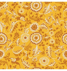 vintage seamless floral pattern yellow vector image