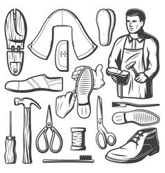 vintage shoemaking elements set vector image