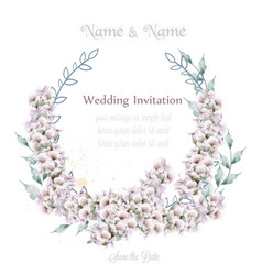 Wedding wreath white lavender watercolor vector
