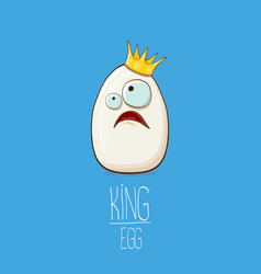white egg king with crown characters isolated on vector image