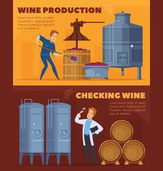 Wine production cartoon horizontal banners vector