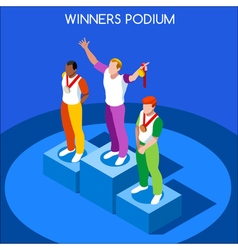 Winner Podium 2016 Summer Games Isometric 3D vector image