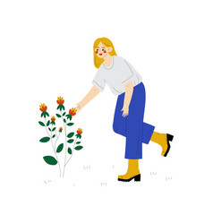 young woman cultivating plant with flower guy vector image