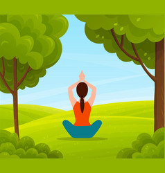 Young woman doing relaxation yoga on nature vector